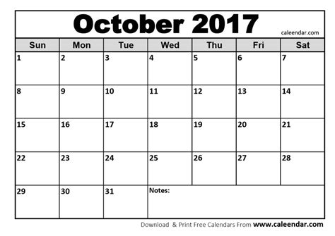Calendar October 2017 Word October 2017 Calendar Word Excel Printable Template With