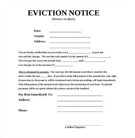 19 sle eviction notice templates free sles