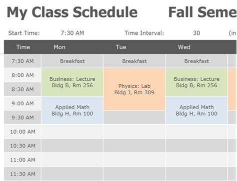 Class Schedule Scheduling Templates