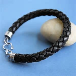 Handmade Mens Braided Leather Bracelets - mens thick braided leather bracelet sterling silver