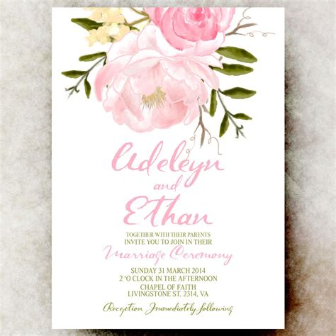 Floral Wedding Invitations by Pink Floral Wedding Invitation Cottage Chic Wedding