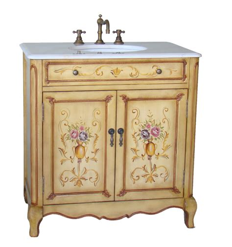 Painted Bathroom Vanities 32 Inch Bathroom Vanity Painted Floral Design Beige Color 32 5 Quot Wx20 Quot Dx34 5 Quot H Chf2263w
