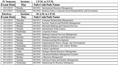 Time Table For Mba Chennai by Univ Chennai Pg Mba Revised Nov Dec 2015 Time
