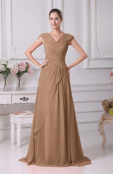 light brown wedding dresses light brown prom dress a line v neck