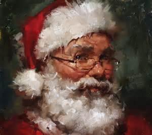 original oil portrait santa claus on linen canvas panel 8x10