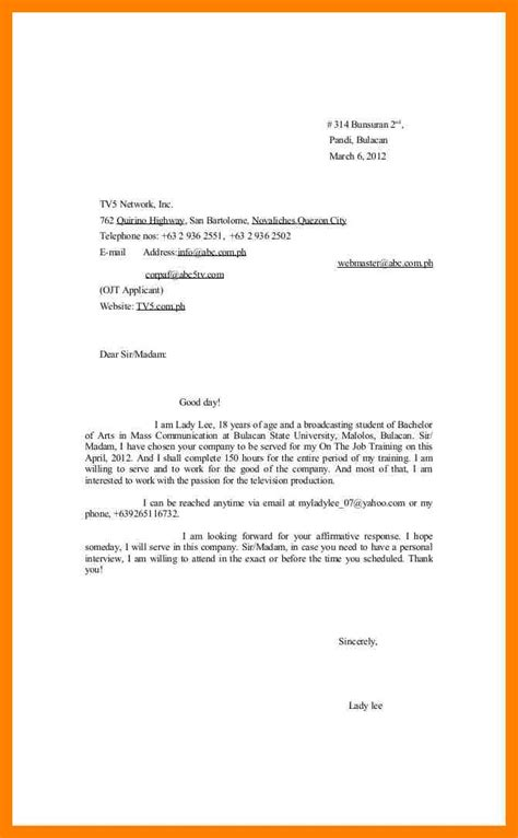 Acceptance Letter In Ojt 3 Exles Of Application Letter For Ojt Emt Resume