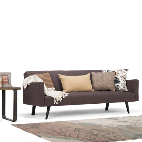 morgan sofa bed simpli home morgan 1 piece smoke grey linen look fabric
