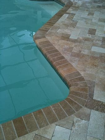 ceramictec travertine herringbone paver pool deck