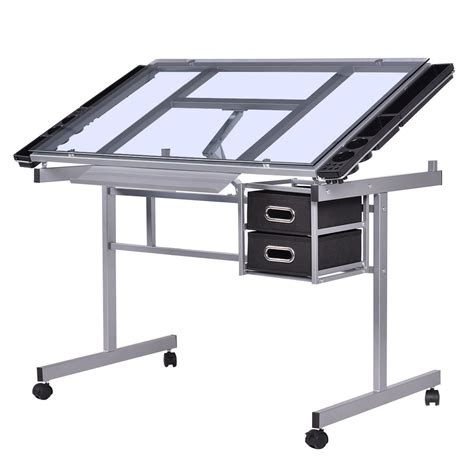 Drafting Table And Desk Costway Adjustable Drawing Desk Rolling Drafting Table Tempered Glass Top Craft Jet