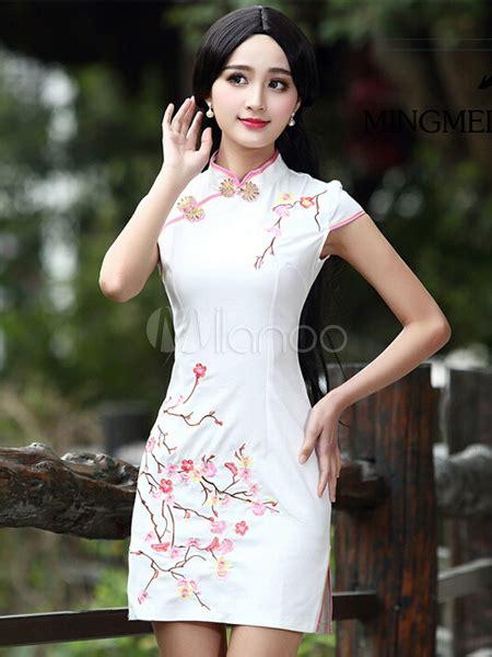 Verkin Retro Jacquard Cheongsam White white cheongsam floral print jacquard vintage dress milanoo