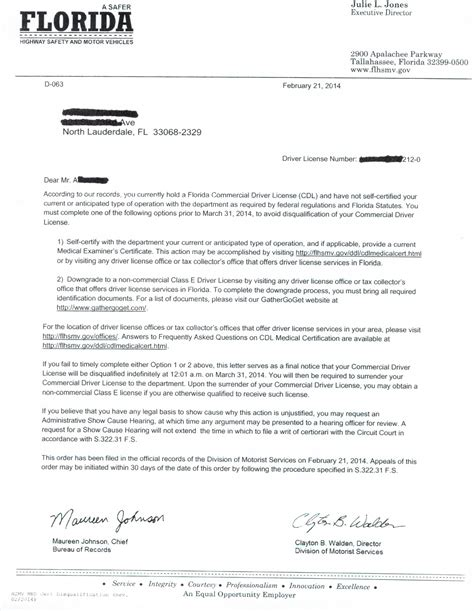 Disqualification Letter Cdl Disqualification Letter Florida Dmv Dot Physical Ft