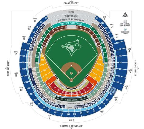 rogers center floor plan seating map toronto blue jays