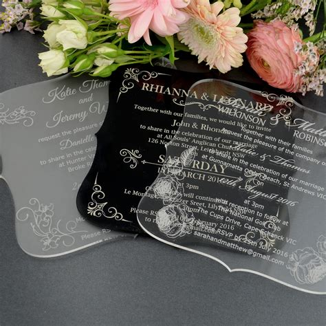 Unique Gifts Made From Wedding Invitation by C6 Engraved Acrylic Wedding Invitations With Rounded Edges