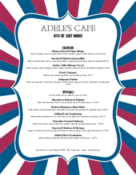 4th of july menu template 4th of july menu fourth of july menu 4th of july menu