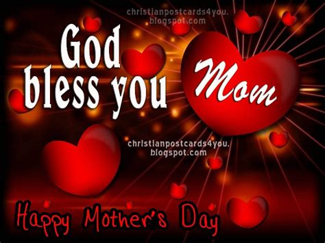 happy mothers day  god bless  mom christian cards