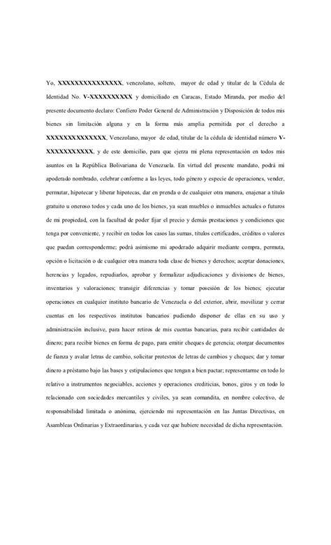formato de poder notarial formato poder general venezuela