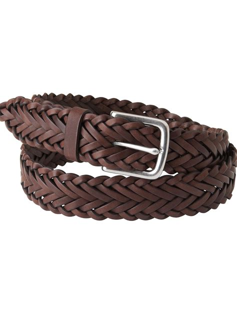 jaeger woven leather belt in brown for lyst
