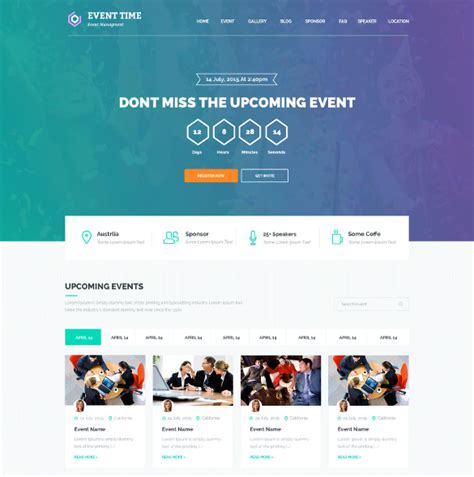design event website 33 event planning website themes templates free