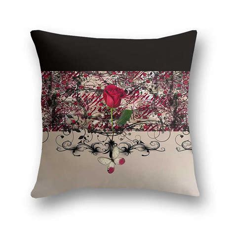 designer pillows modern vintage red rose butterfly designer throw pillow steady threads studio