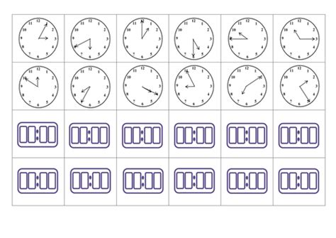 printable clock matching game analogue and digital time card matching game by miss n