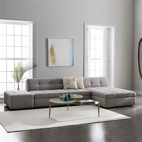 west elm chair with ottoman plateau 3 piece storage chaise sectional w ottoman west elm