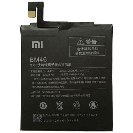 Bm46 Black xiaomi redmi note 3 battery bm46 black