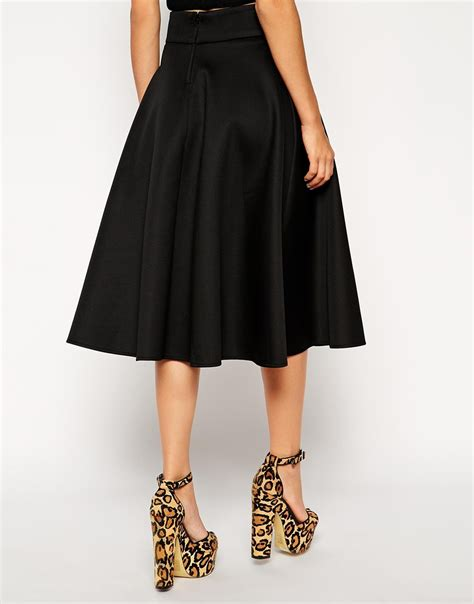 asos midi circle skirt in scuba in black lyst
