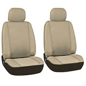 Seat Covers On Leather Seats 17pc Beige Brown Pu Faux Leather Complete Suv Seat