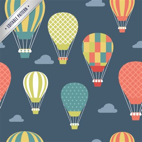 pattern air balloon pattern with colored hot air balloons vector free download