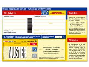 Adressaufkleber Paket International by Dhl Paketmarken Eu Bis 5 Kg Shop Deutsche Post