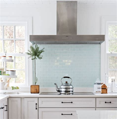 Light Blue Kitchen Backsplash | light blue glass subway tile backsplash