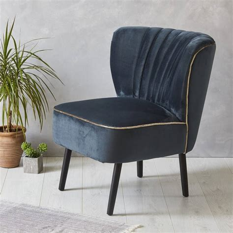 ink blue velvet mid century cocktail chair by fern grey