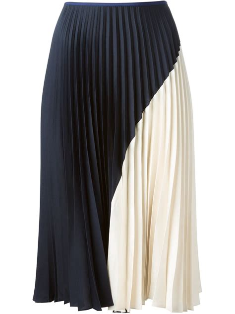 theory pleated skirt in blue lyst