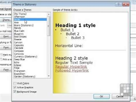 themes microsoft outlook 2010 outlook 2010 tutorial using stationery themes for emails