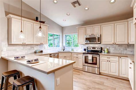 White Craftsman Kitchen by Antique White Kitchen Cabinets Craftsman Kitchen Los