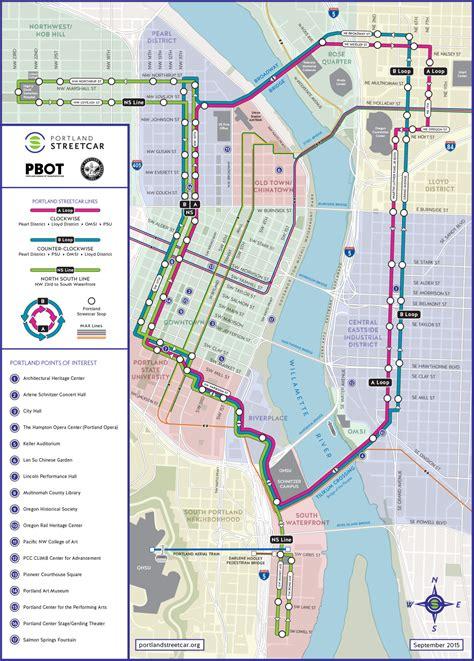 portland transit map official map portland streetcar september 2015