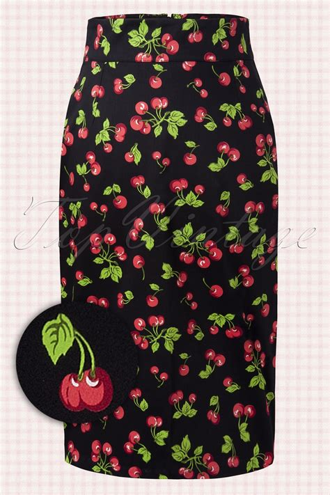 retro pencil skirt black cherry