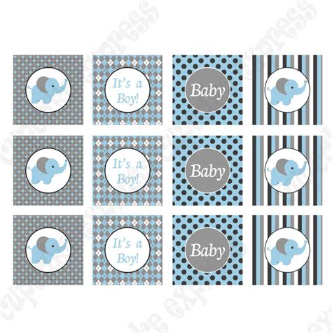 baby boy elephant printable cupcake toppers