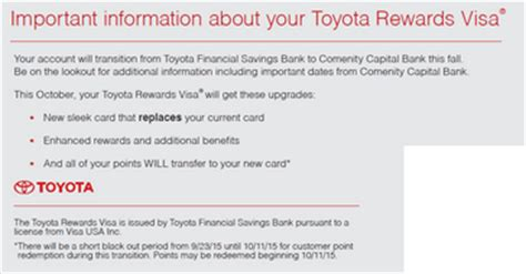 Toyota Rewards Toyota Lexus Visa Cards Will Be Issued By Comenity Bank