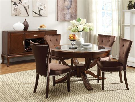 cherry finish classic 5pc dining room set w optional items kayden 5 pc round 54 quot dining table set w glass top in
