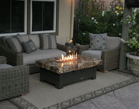 Balboa Fire Pit Table By Cooke Eclectic Patio Orange Patio Fireplace Table