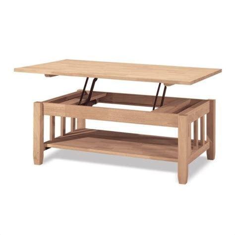 International Concepts Unfinished Mission W Lift Top Unfinished Furniture Coffee Table
