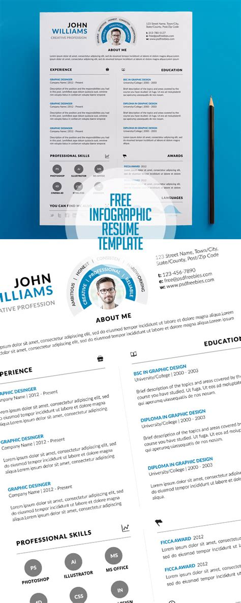 infographic resume template psd 20 free cv resume templates 2017 freebies graphic design junction