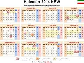 Kalender 2018 Nrw Kalenderwochen Ferien Nordrhein Westfalen Nrw 2014 220 Bersicht Der
