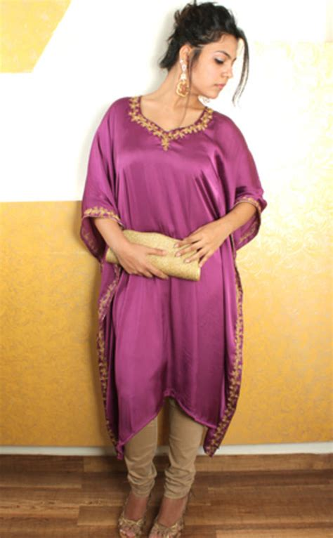 Kaftan Satin Payet Gold Syahilla buy purple satin kaftan with gold embroidery