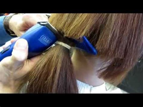 Brittany clipper cuts her long hair short buzz haircut