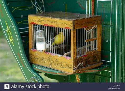 canary bird cage stock photos canary in a wooden cage on a gipsy caravan stock photo