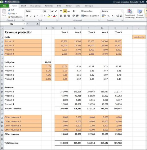 projection template revenue projections calculator plan projections
