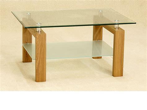 Shelf Legs by Coffee Table Clear Glass Oak Legs 1 Shelf Frosted Glass