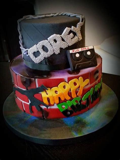 Karpet Breakdance 80 s rap theme graffiti birthday cake